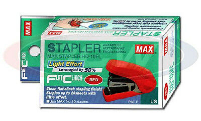 MAX Flat Clinch Stapler, Ergonomic Style + 1000 MAX Staples