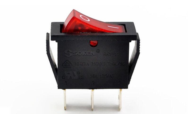 2pcs SOKEN Rot 3 pin Beleuchtet EIN / AUS SPST Boot Wippschalter 16A 250V AC UR