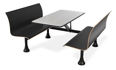 30 X 48 Restaurant Retro Bench Stainless Steel Topcenter Frame Black Seats