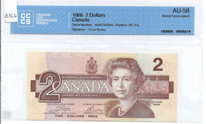 Canada 1986 $2, AUG7002544 Crow / Bouey CCCS Graded, BC-55a AU-5