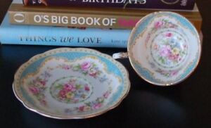 Windsor Foley Sky Blue Border Floral Bouquet Teacup & Saucer
