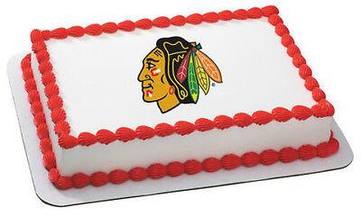 Blackhawks Cake Topper (NHL CHICAGO BLACKHAWKS LOGO EDIBLE CAKE)