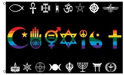 Coexist Rainbow Flag World Peace Love Human Rights Religious Gay Pride 3 x 5 Ft - World Flag