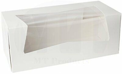 Donut Bakery Box 9 X 4 X 3.5 White Auto-popup With A Window - 25 Pieces