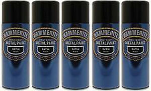 Hammerite 400ml  Satin Black Metal Spray Paint  Aerosol Cans x5