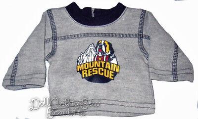 Saint Bernard Dog T-Shirt for Bitty Baby Boy Twin Doll Clothes Mountain Rescue