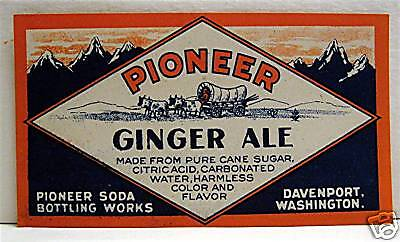 Pioneer Ginger Ale Old Soda Label Davenport Washington