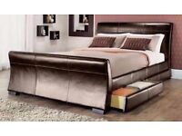 New 'Houston' Faux Leather Double & King Size Black/Brown Bed Frame (Free Local Delivery)
