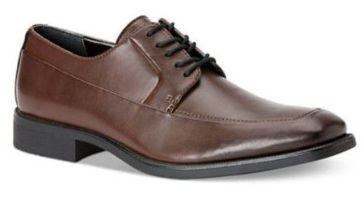 Calvin Klein Men's Elroy Moc-Toe Brown Leather Oxford