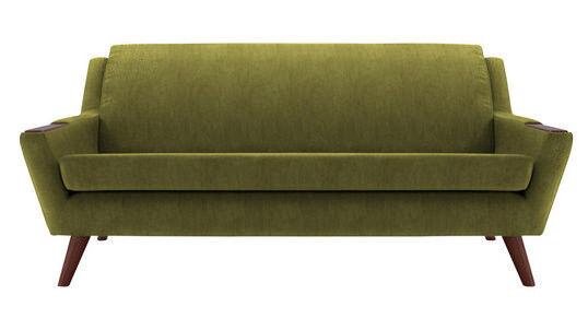 G Plan Vintage Style Sofa Velvet Cactus Green 750 Ono