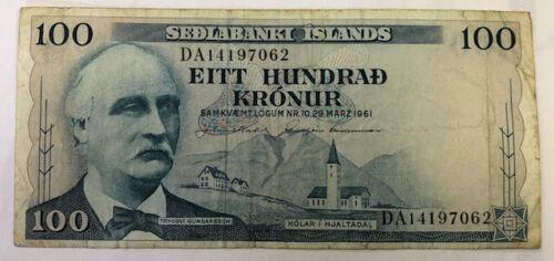 MARCH 1961 SEDLABANKI ISLANDS ICELAND 100 KRONUR, DECENT HIGHER CIRCULATED