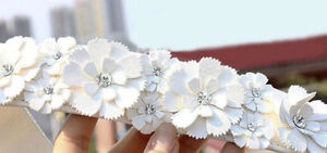 Rhinestone Flower Elastic Stretch Belt Ivory Off-White Cream New