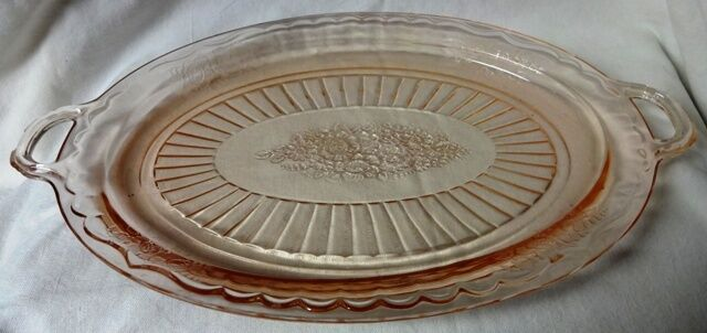 Mayfair Pink Platter with Open Handles Oval Hocking Glass Company