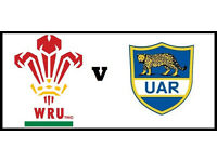 Wales V Argentina - Face Value, Half Way Line Tickets - £40 - LAST 5 - K.O 5.30PM