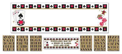 Casino Banner individualisierbar NEU - Partyartikel Dekoration Karneval Fasching