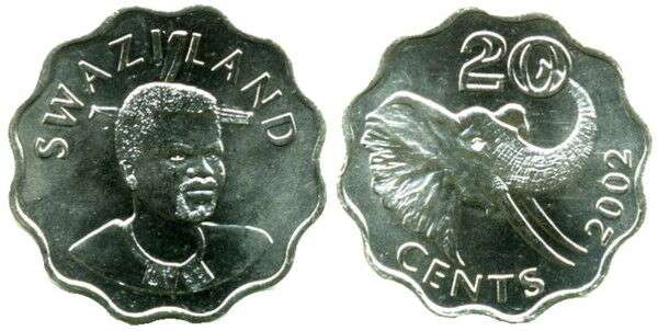 SWAZILAND: 4-PIECE UNCIRCULATED COIN SET:  5 TO 50 CENTS