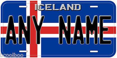 Iceland Flag Aluminum Any Text Novelty Car License Plate