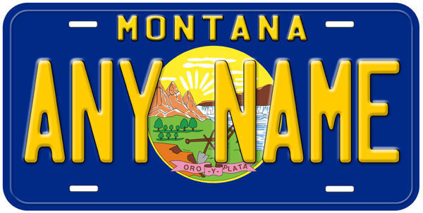 Montana State Flag Any Name Novelty Car License Plate