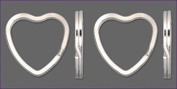 100 KEY RINGS ~ Heart Shape 32mm Sturdy Split Ring  Silver Base Metal