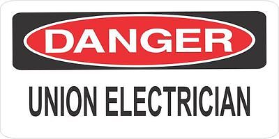 Lot Of 3 Danger Union Electrician Helmethard Hattoolboxlunch Box Sticker