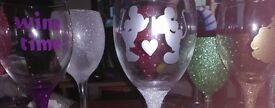 Personalised Glitter Wine Glasses