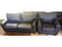 Stefano Leather Large Sofa And Chair-Black Can deiver