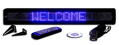 Bright Blue Led Programmable Display Sign Wireless Remote 26x4