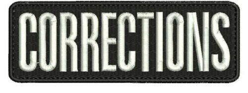CORRECTIONS embroidery patches 2x6 hook on back black and white