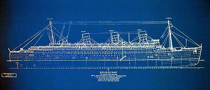 "Vintage Cunard Line Ship Queen Mary Print Blueprint Plan 24""x 34"" (002)"