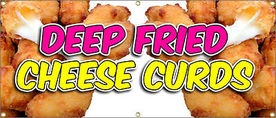 Deep Fried Cheese Curds Banner Chili Dog Fries 20x48