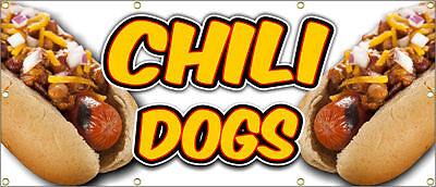 Chili Dogs Banner Sign Hot Dog Fries Burger Texas 36x 84