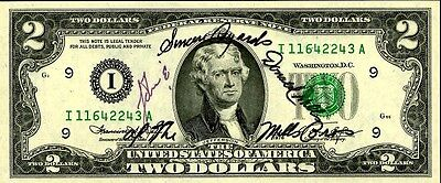 MILLS BROTHERS Autographed 2 Dollar Bill