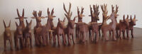 Large collection of hand carved wooden animals