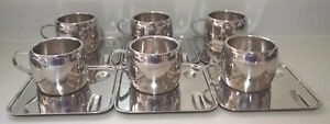 Vintage Tramontina 18/8 Stainless Steel Espresso Cups Saucers