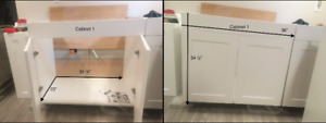 5 White Cabinets Brand new Assembled never attached to wall