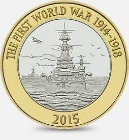 2015 First World War Centenary Royal Navy 2 pound coin