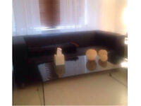 Modern Sofas x 2 - Black faux Leather sell separately or together - reduced to go asap