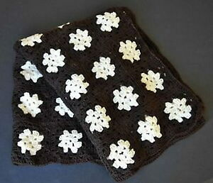 New brown and white 41 x 57-inch hand-crocheted afghan blanket