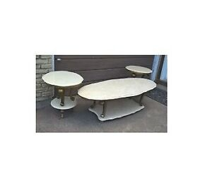 Vintage Quartz Marble Coffee & 2 End Tables with Brass Base