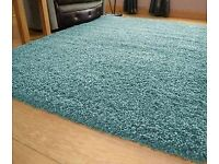 Shaggy Rug Super Soft Non Shed Living Room Hall Runner 50 mm Thick Luxurious- Duck Egg.