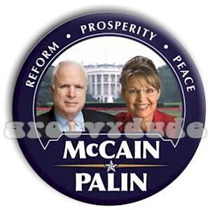 John McCAIN Sarah PALIN 2008 Pin Button White House President Political Campaign