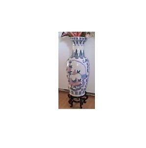 Vintage Large Hand Painted Porcelain Vase Lotus Floral Design
