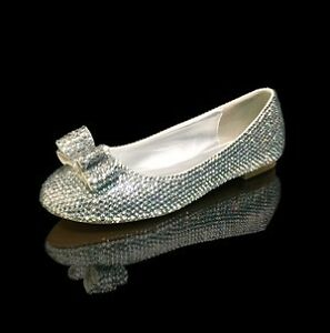 Marc Defang Clear Crystal Wedding Ballet Flats with Bow Accent