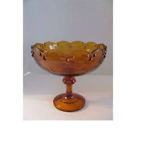 Vintage Indiana Carnival Glass Amber Pedestal Candy Dish