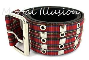 Red Plaid Belt w/ Pyramid Studs & Eyelets Punk Rock Ska - 2