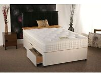double faux leather bed with 2 drawers, mattress and free headboard