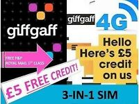 GiffGaff Sim Card - Get £5 credit on Activation Only 25p #FreePostage