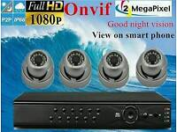 4 x 2 MP IP66 PoE Full HD Real Time 1080p IP Camera 4 Channel NVR P2P CCTV Kit