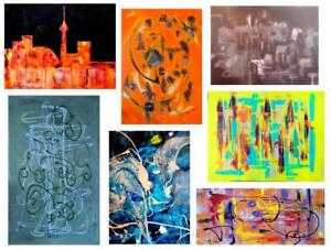 ORIGINAL PAINTINGS Oakville ALL SIZES - XS - HUGE Abstract Art Impressionist Surrealist Colorful CANADIAN CANADA