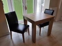 ***6 Seater Square To Rectangle Dining Table (plus 2 x faux leather chairs)***